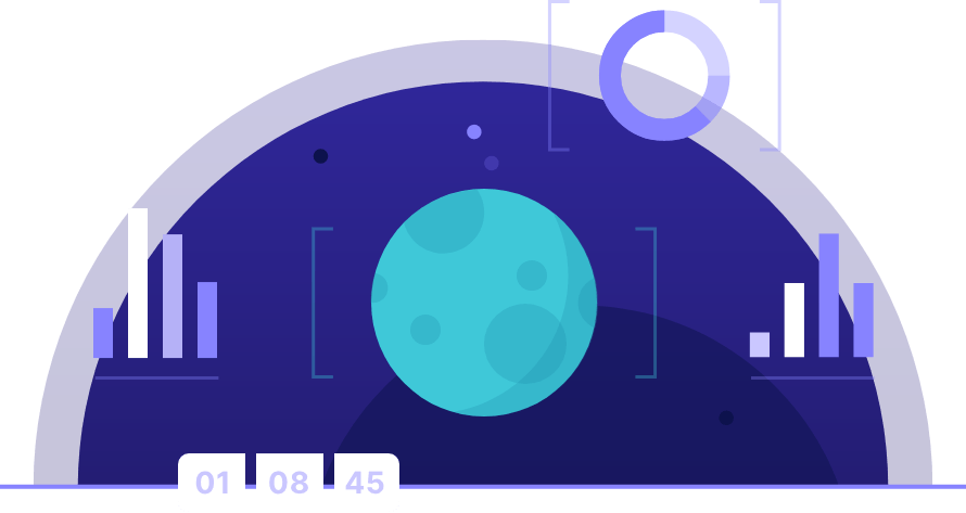 Teal moon surrounded by graphs and charts